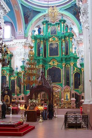 Свято-Духов монастырь в Вильнюсе. В центре - рака с мощами виленских мучеников. Фото: wikicommons