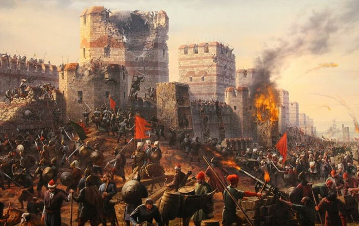 The capture of Constantinople by the Ottomans.