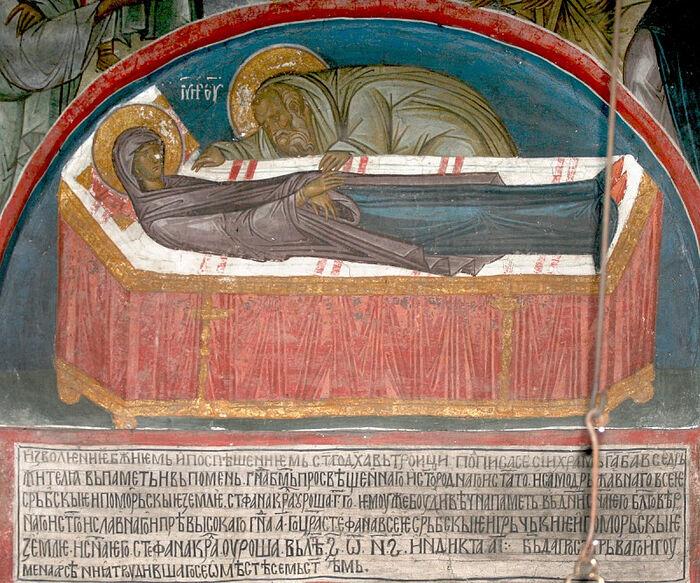 Dormition fresco from Dečani Monastery, 14th C.