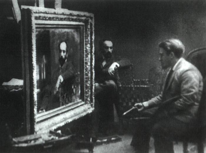 Валентин Александрович Серов пишет портрет Левитана, 1890-е