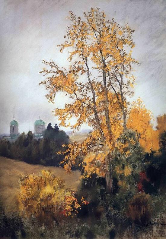 «Осенний пейзаж с церковью». Художник: Исаак Ильич Левитан