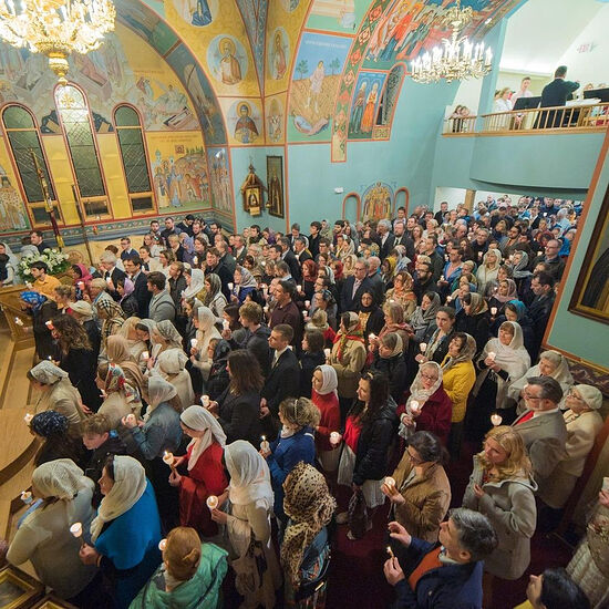 Parishioners of Holy Theophany Church in Boston, MA.