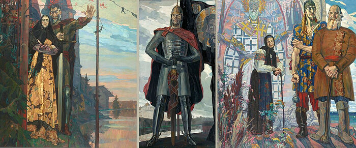 Александр Невский, триптих, 1942-1943 гг., работы Павла Корина (1892-1967)