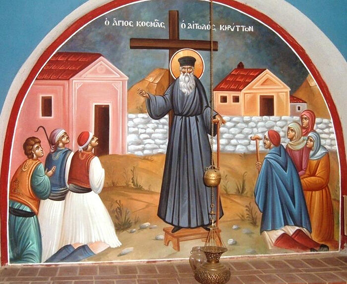 St. Cosmas of Aitolia preaching to the people. Photo: Mystagogy.