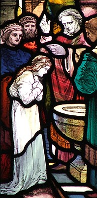 A stained glass window of St. Ebba of Coldingham (Photo: Early British Kingdoms).