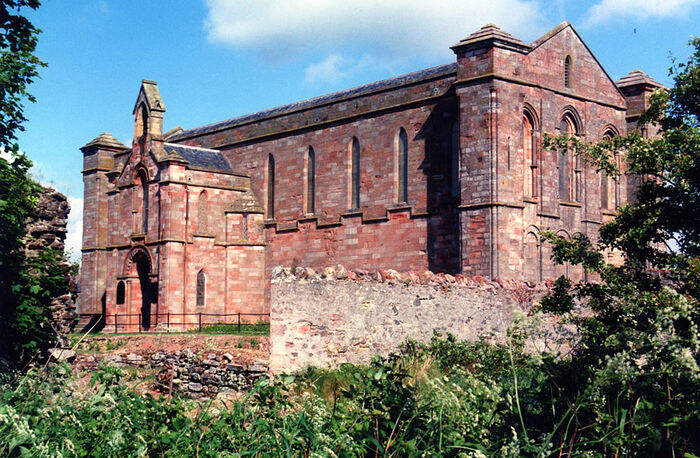 Exterior of the Coldingham Priory Church, Scottish Borders (used with kind permission of the Minister of Coldingham Priory).
