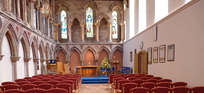 Inside the Coldingham Priory Church, Scottish Borders (used with kind permission of the Minister of Coldingham Priory).