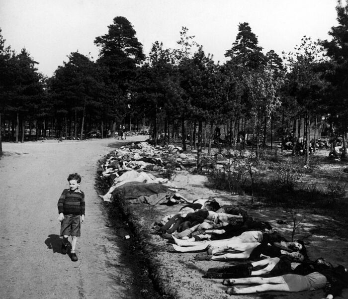 A German boy walks along a road where lie the corpses of hundreds of prisoners who died in the Bergen-Belzen concentration camp