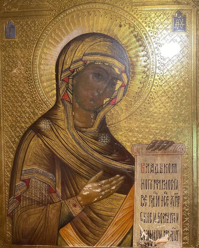 Икона Пресвятой Богородицы - на облачении появились красные треугольнички