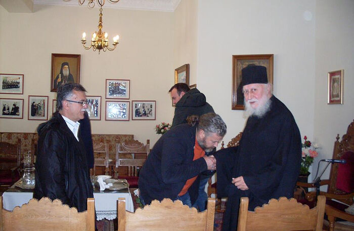 Blessing pilgrims to the monastery, 2018