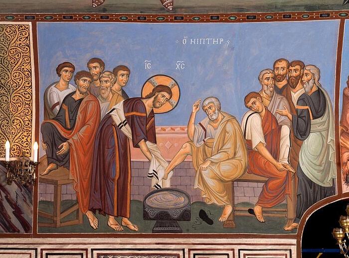 Ιερός Νιπτήρας.Τοιχογραφία της κάτω εκκλησίας των Τριών Ιεραρχών στο Κουλίσκι της Μόσχας
