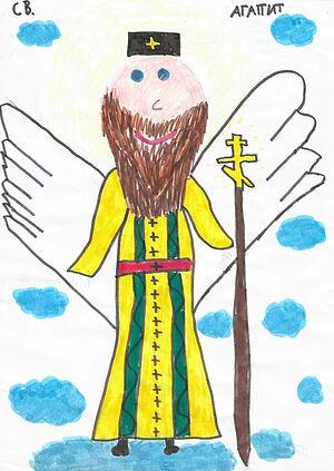 Рисунок дочери Павлы, лет в 7-8 лет она нарисовала и подарила владыке, он ещё очень смеялся, – когда владыка умер, Виктор (который жил с владыкой) вернул в семью эту картинку – она была у владыки в комнатке