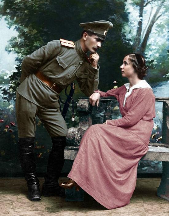 Русский офицер со своей невестой
