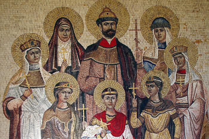Мозаика святых Царственных мучеников и преподобномученицы Елисаветы из Дармштадта