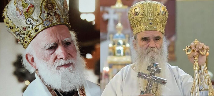 Abp. Irineos of Crete (left), Met. Amfilohije of Montenegro (right)