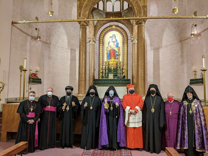 Abp. Elpidophoros is 4th from the left, and Bp. Irinej is third from the right. Photo: Facebook