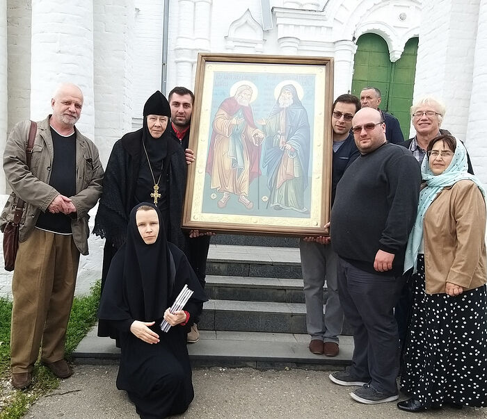 The creative team for the film about Elder Gabriel with Abbess Eustolia in Godenovo