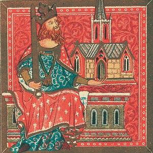Король Мерсии Оффа. Миниатюра из «Золотой книги Сент-Олбанса». 1380 г.