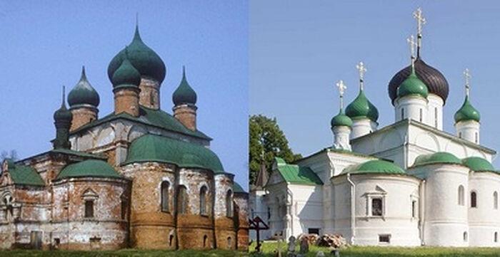 Федоровский собор Переславля Залесского в 1980 году и сейчас
