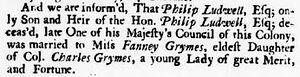 Объявление о свадьбе Филиппа Ладвелла в газете «Virginia Gazette», июль 1737 г.