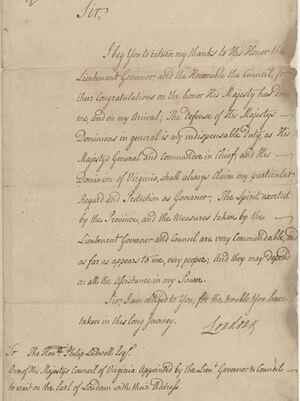 Приветственная речь Ладвелла лорду Лаудону, новому командиру Британских сил в Америке, в 1756 г., во время войны с французами и индейцами