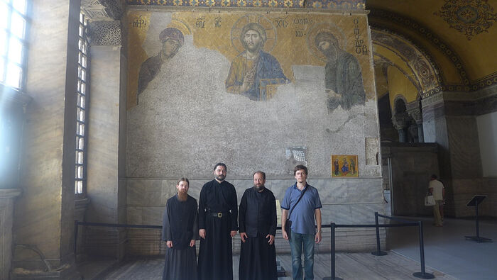 At St. Sophia's Cathedral with Dr. V.A. Permyakov and the monastics studying the history of Byzantium at the Holy Trinity Seminary. 2015.