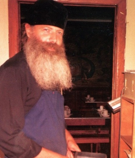 Monk Isaakii (Schotter) is performing obediences at the refectory of the Holy Trinity Monastery. The early 1990s