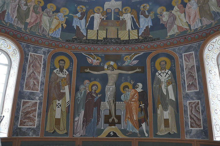 Painting of the Trinity Cathedral in Diveyevo.
