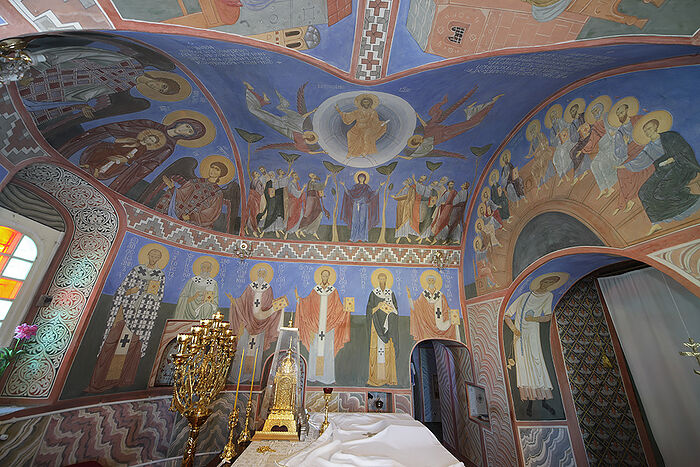 Painting of the Trinity Cathedral at the St. Pachomius monastery in Nerekhta.