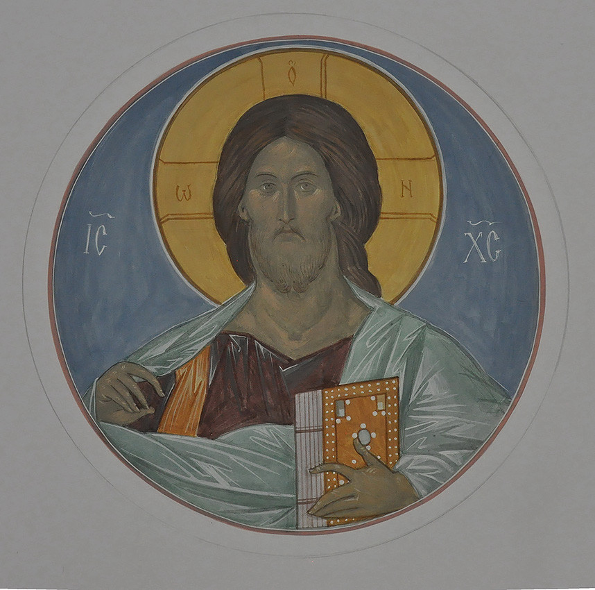 Lord Almighty. Sketch of the iconography in the dome of Holy Dormition Church in Bogorodskoe, 2012