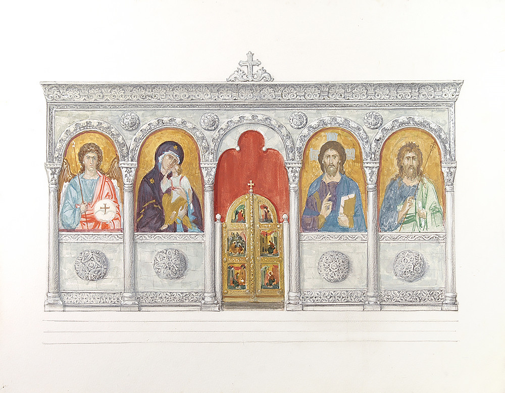 Sketch of the iconostasis for the church at the Russian pilgrims' house at the site of the Baptism of Jesus Christ in the River Jordan, 2010