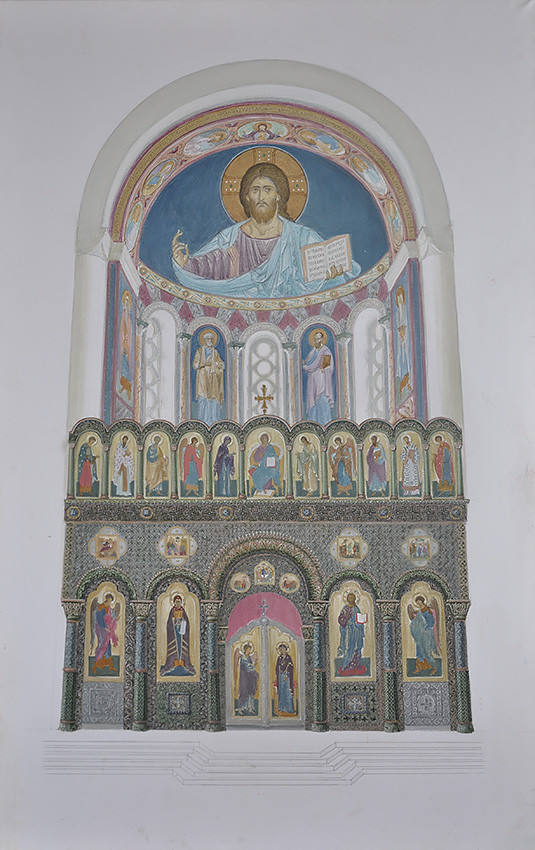 Sketch of the altar iconography with the iconostasis of Holy Trinity Cathedral of Diveyevo Monastery, 2010
