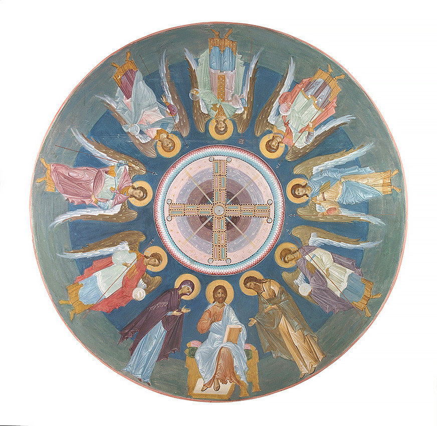 Sketch of the iconography in the dome of Holy Protection Church at Holy Protection Monastery in Khotkovo, 2007