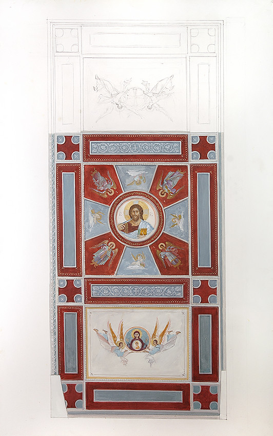 Sketch of ceiling iconography, St. Pachomius of Nerekhta Monastery, 2009