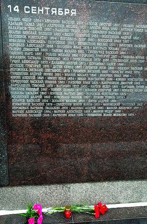 Убиенные на Бутовском полигоне 14 сентября 1937 года