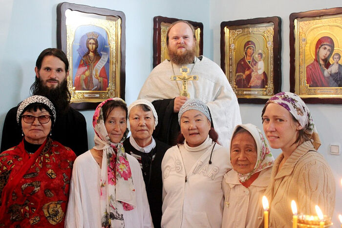 The future Fr. Ambrose with parishioners in Tuva