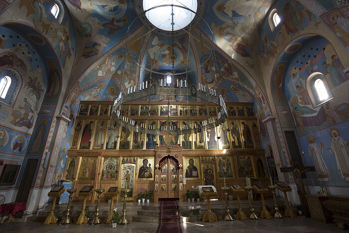Iconostasis and painting at the Church of the Nativity of the Mother of God and the Holy Royal Passion-Bearers in London