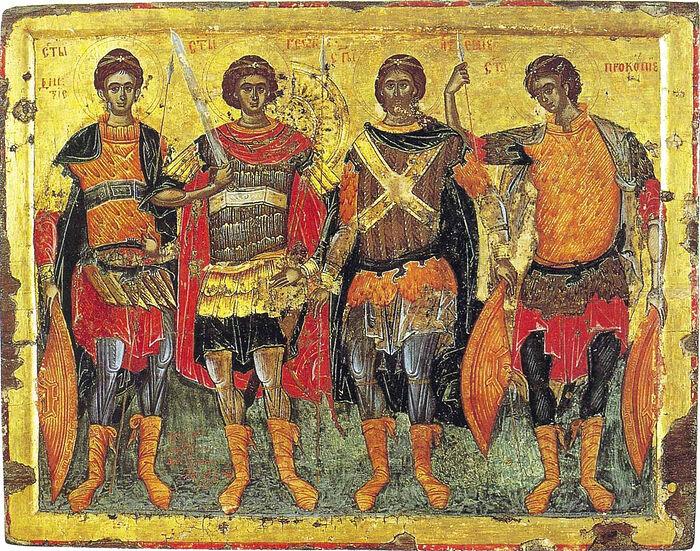 Четыре святых воина (слева направо): Димитрий, Георгий, Артемий и Прокопий. 1618 г. Монастырь Хиландар на Афоне.