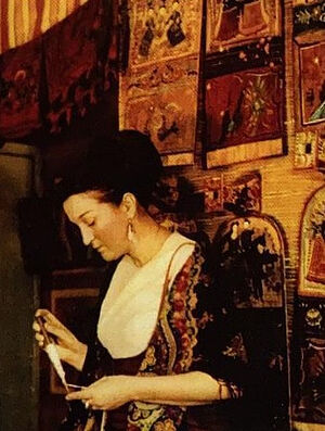 Искра Андреевна Бочкова в мастерской. 1972 г.