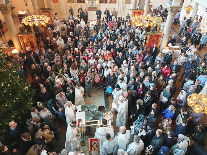Blessing water in the parish church