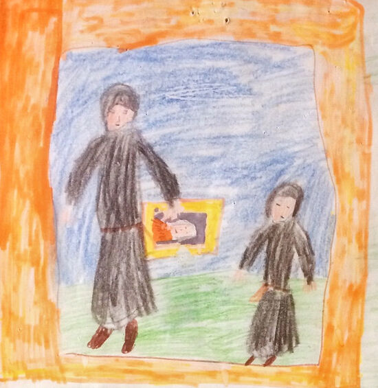 Hildo's childhood drawing of monks with an icon