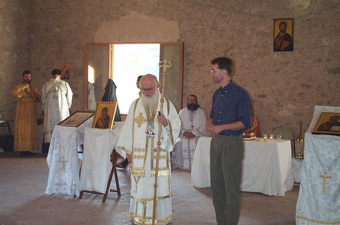 Молодежная работа — На молодежном фестивале Синдесмоса в 1991 г. с бывшим вице-президентом Синдесмоса архиепископом албанским Афанасием.
