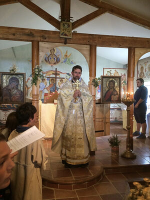 Liturgy at the church of the Russian Student Christian Movement's camp