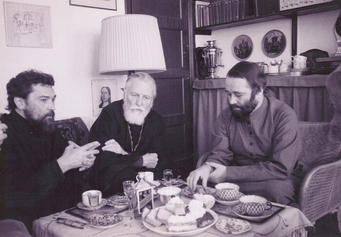 Fr. Sergey Ovsyannikov and Fr. Alexis Voogd (the first two priests of the parish) with Bishop Simon in Fr. Alexis' house. The parish was founded by Fr. Alexis and his wife.