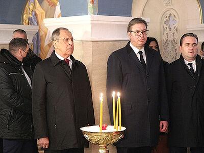 Глава МИД России принял участие в церемонии по случаю завершения оформления мозаичного убранства храма святого Саввы в Белграде