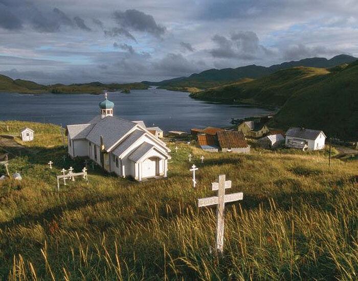 The Church of St. Nicholas on the Western Aleutian island of Atka, Alaska