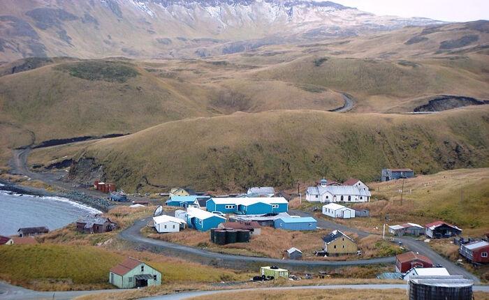 The Church of St. Nicholas on the island of Atka, Western Aleutian Islands, Alaska