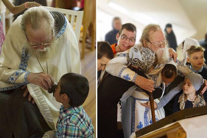 Отец Иоанн Миронов с детьми в обнимку. В храме дома Трудолюбия в Вехно
