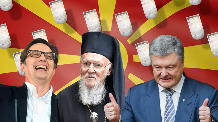 Patriarch Bartholomew with former Ukrainain President Petro Poroshenko and North Macedonian President Stevo Pendarovsky. Photo: YouTube