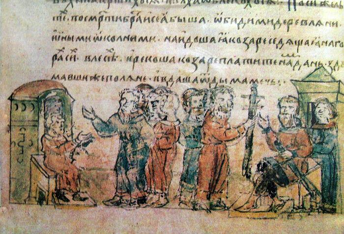 Дань полян хазарам, миниатюра Радзивилловской летописи, XV век
